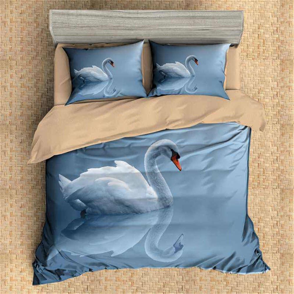 Swan Beautiful Reflection 3D Digital Print Bedding Duvet Quilt Cover Pillowcase