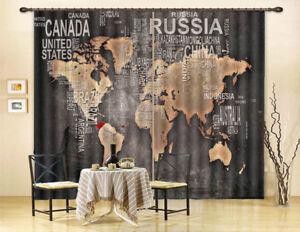 Art world map 3d curtain blockout photo printing curtains drape image is loading art world map 3d curtain blockout photo printing gumiabroncs Images