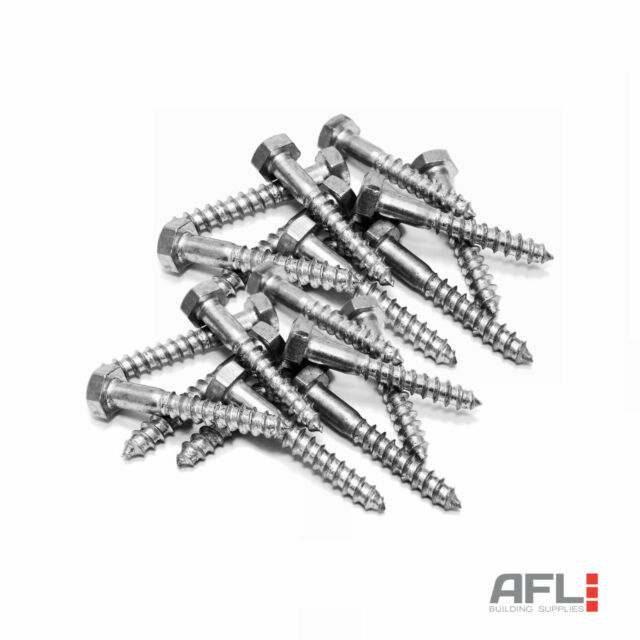10x ForgeFix Zinc Plated Hexagon Head Single Thread Heavy Duty Coach Screws