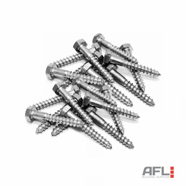 10x ForgeFix Zinc Plated Hexagon Head Single Thread Heavy Duty Coach Screws
