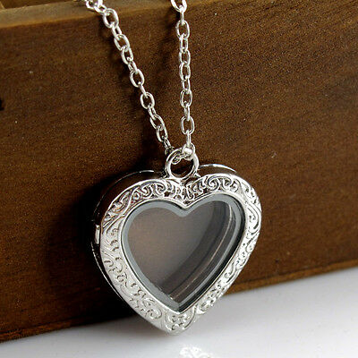 Women Fashion Charms Locket Crystal Heart Glass Pendant Living Memory Necklace
