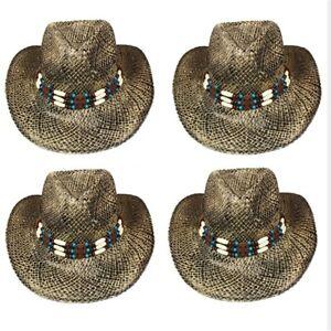 COWBOY Western HAT Shape able BROWN BLACK STRAW Cowgirl Cap Raffia ... c85627aabef3