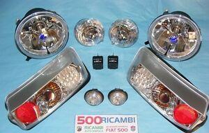 FIAT-500-F-L-R-KIT-COMPLETO-FARI-SPORTIVI-CRYSTAL-H4-LEXUS-TUNING-FANALINI-A-LED