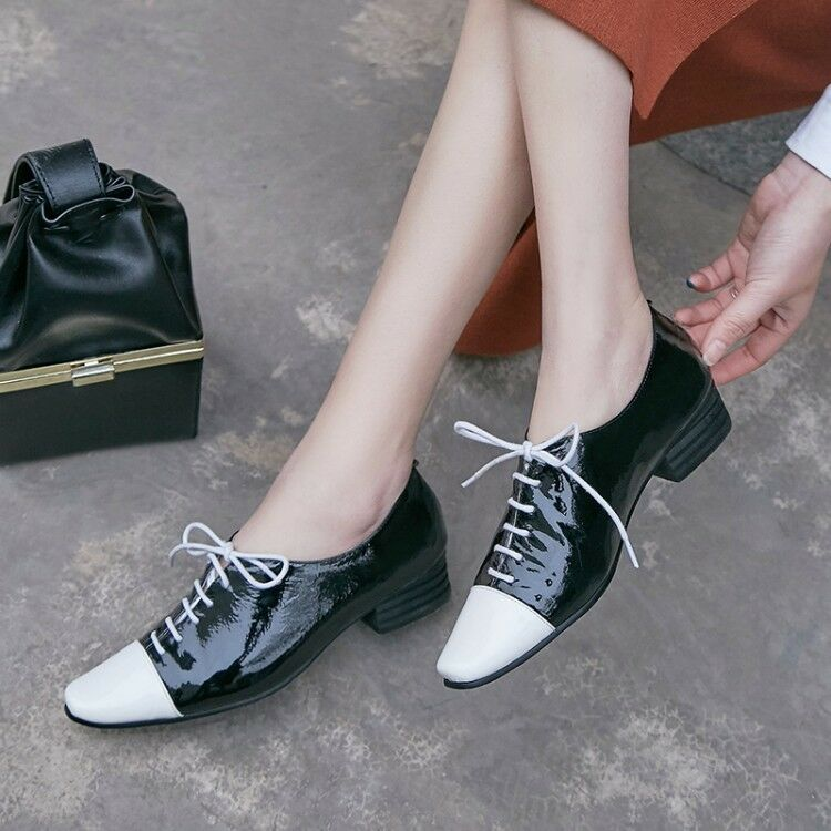 Donna Lace Up PU Pelle Wing Tip Brogue Oxford College Style Flat Fashion Shoes