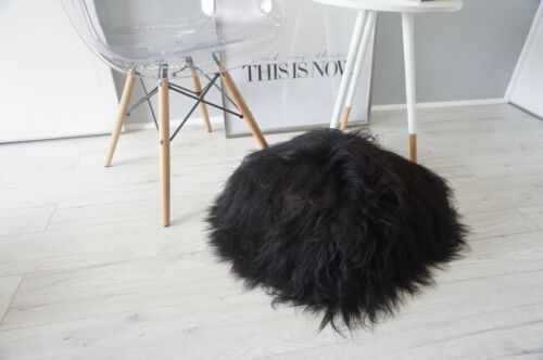 SUPER SOFT GENUINE ICELANDIC SHEEPSKIN CUSHION BLACK LONG WOOL PILLOW RUG ADD