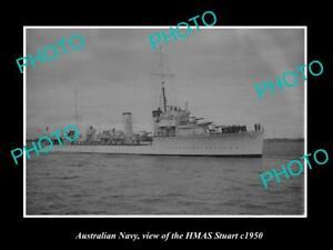 OLD-8x6-HISTORIC-PHOTO-OF-AUSTRALIAN-NAVY-SHIP-HMAS-STUART-c1950