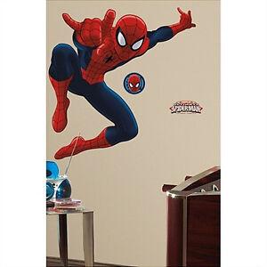 spiderman giant wall stickers mural 17 decals marvel superhero. Black Bedroom Furniture Sets. Home Design Ideas