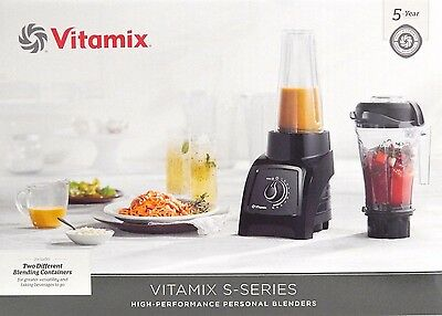 Vitamix S30 Black Personal Blender with 1 Compact and 2 Portable To-Go BPA FREE