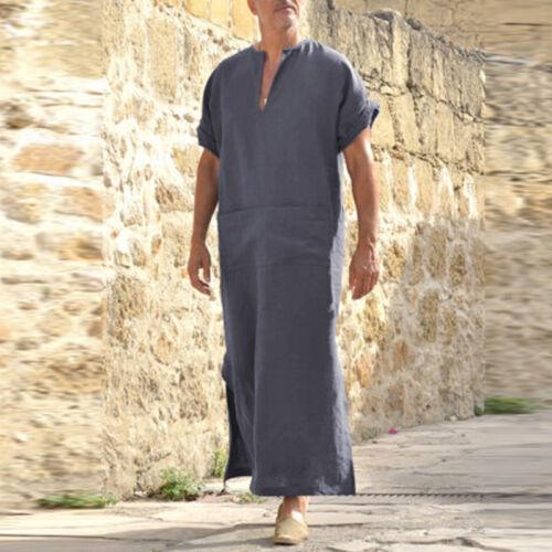 INCERUN Vintage Casual Loose V Neck Splits Long Dress Tops Shirts Kaftan For Men