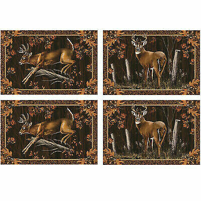 "RIVERS EDGE 1660  4 PC PLACEMAT SET DEER 18/""X12/"" GIFT NEW"