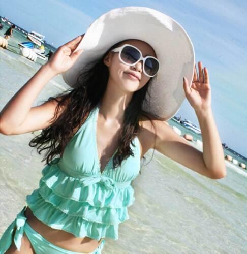 Women Ladies Wide Large Brim Cap Floppy Fold Summer Beach Sun Straw Beach Hat