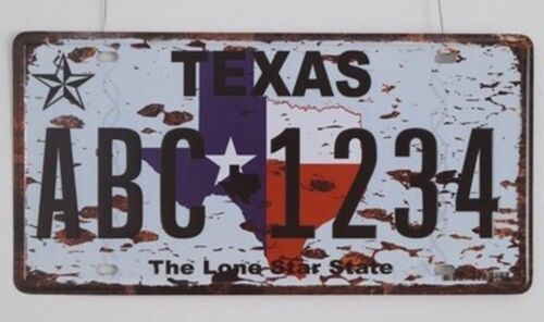 Texas USA America Car License Plate Number Metal Vintage Art Craft Sign Wall