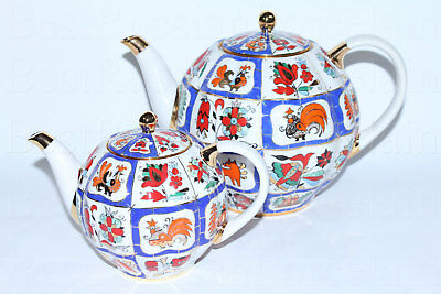 RUSSIAN Imperial Lomonosov Porcelain Two Teapot Small and Big Russian Lubok Gold