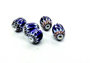 6-Layer Red//Blue Chevron Trade Beads Lot of 10