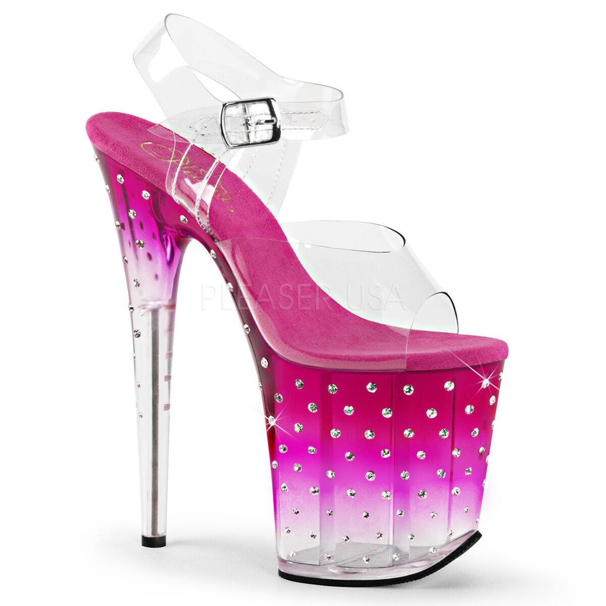 PLEASER Sexy Rhinestone Tinted Platform 8  High Heels Stripper Dancer Rosa schuhe