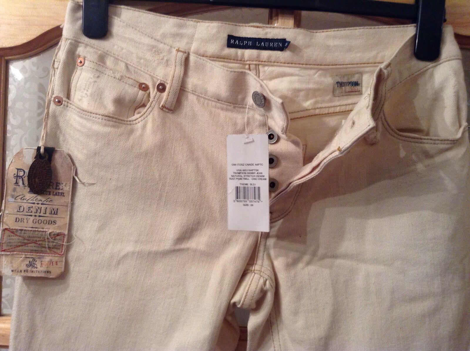 BNWT   Ralph Lauren  W 28  Thompson 650 Skinny Cream Stretch Denim Jeans L35