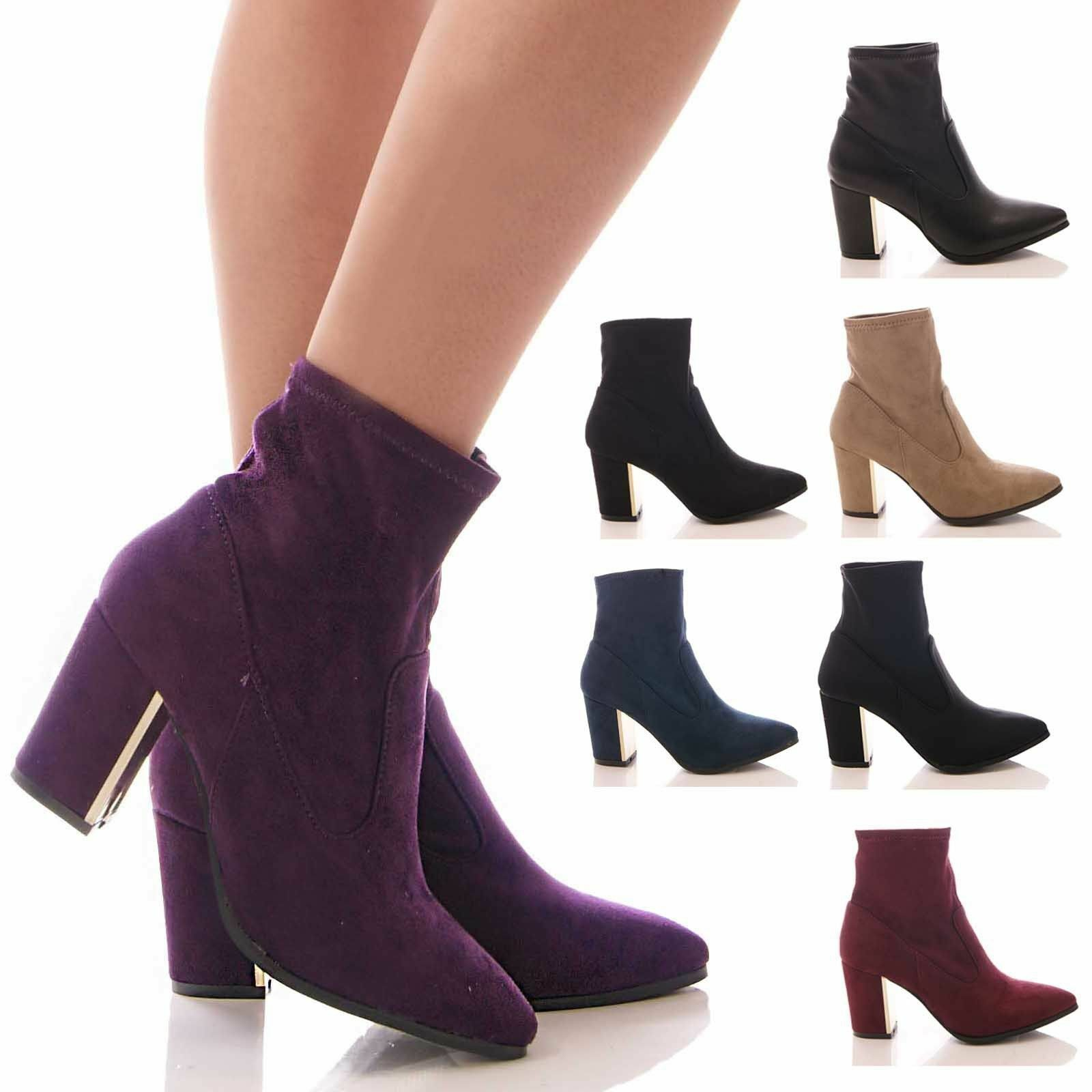 Ladies Women's Winter Ankle Boots Block Heel Gold Plated Stretch Shoes Size 3-8