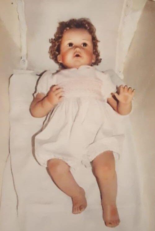 Bambola in porcellana  heirloom baby  di joan ibarolle - ashton drake - usata