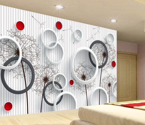 3D ROT Dot Dandelion 838 Wallpaper Mural Paper Wall Print Wallpaper Murals UK