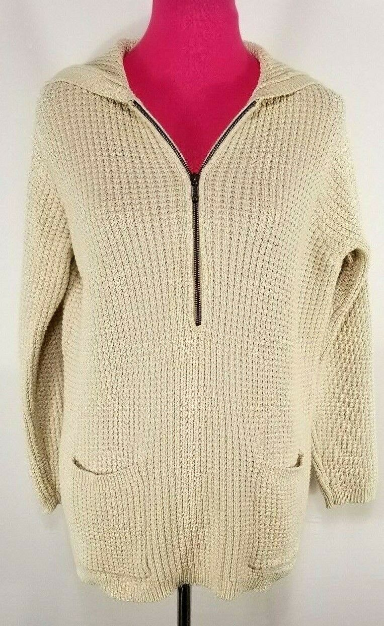 Saks Fifth Avenue Real Clothes Womens Hooded Sweater Size S Long Sleeve Half Zip