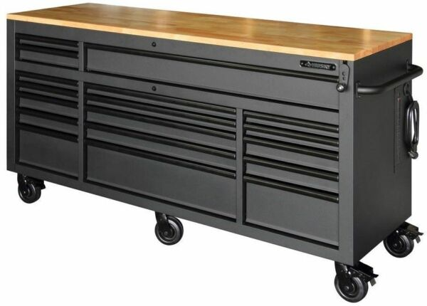 Husky 72 In 18 Drawer Mobile Workbench Solid Wood Top