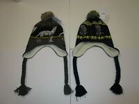 Mens Carbon Bear Wolf Sherpa Fur Tassle Skull Cap Skully Beanie Hat Lot Of 2