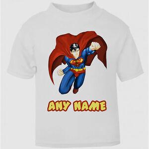 Personalised Superman Superhero T-Shirt Boys Girls Top Age Size Cool Kids New