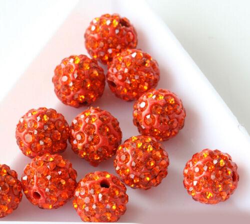 20Pcs Moda diamantes de imitación de cristal checo arcilla redondo Bola de discoteca Pave Espaciador granos