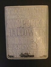 Sizzix Large 4.5x5.75in Embossing Folder HALLOWEEN PRINT fit Cuttlebug & Wizard