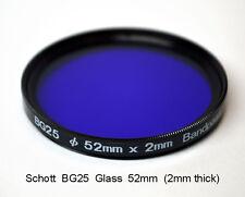 Schott BG25 52mm x 2mm thick UV Bandpass Ultraviolet, Dual Band IR Camera Filter