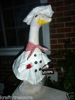 Lawn Goose Clothes Chef Fit 18-27 Cement & Plastic Cotton White Cook Home Made