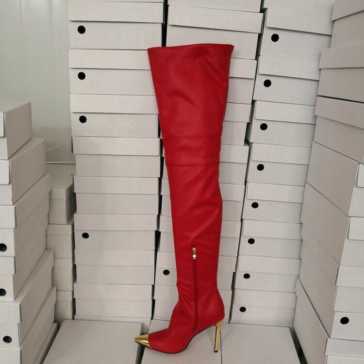 968cb06ca25 Para mujeres en punta de metal sobre la rodilla botas Zapatos De Tacones  Altos Tacones De