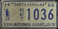 Original Nummernschild USA South Carolina 1988 Plaque d'immatriculation TARGA