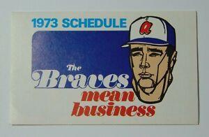 Old-Vintage-1973-Atlanta-Braves-Major-League-Baseball-MLB-Schedule-Hank-Aaron
