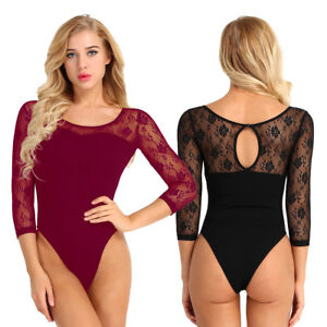 Womens-Lady-Adult-Gymnastics-Lace-3-4-Sleeve-Leotard-Ballet-Dance-Wear-Clothes