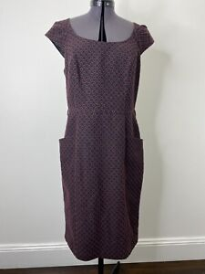 Review Navy & Red Polka Dot Dress With Pockets Size 12 EUC