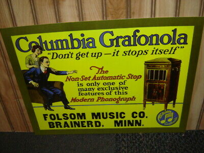 Columbia Grafonola 1900/'s Ad Poster Phonograph Record Player Folsom BRAINERD MN