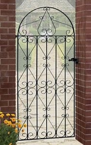 Regent-Tall-Bow-Top-Scroll-Garden-Gate-fits-762-to-1067mm-GAP-Wrought-Iron-Metal
