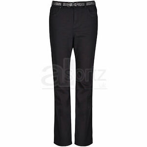 New-Ladies-Womens-Top-UK-Store-Roma-Rise-Black-Stretch-Bootcut-Jeans-amp-Belt-Size