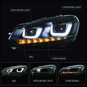 LED-U-Bar-Projector-Headlights-with-Sequential-for-2010-2013-Golf-6-MK6-GTI