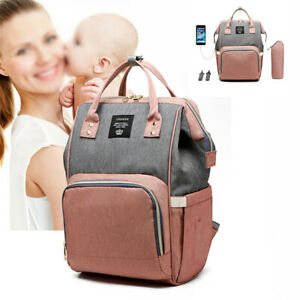 LEQUEEN Mummy Maternity Baby Nappy Diaper Bag Large Travel USB Backpack ~