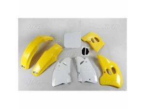 Kit-plastique-UFO-type-origine-blanc-jaune-Suzuki-RM-125-250-1994-1995