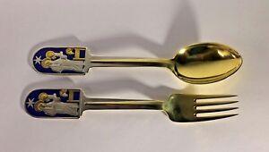 MICHELSEN-1934-Sterling-Silver-Gold-Wash-Spoon-Fork-Set-Jul-6-1-2-034-Denmark