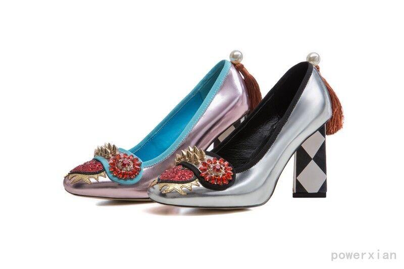 Zapatos De Fiesta pista Hot Tacones Gatito Gatito Gatito Plata rosado Para Mujer BOMBAS Remache Borlas Perla  buena calidad