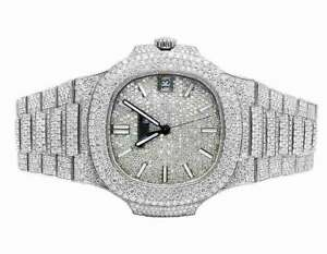 Mens-Patek-Philippe-Nautilus-5711-1A-Steel-Pave-Set-VVS-Diamond-Watch-26-5-Ct