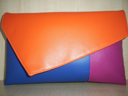 OVER SIZED FUCHSIA PINK ROYAL BLUE /& ORANGE  faux leather clutch bag BN