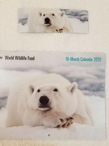 World Wild life 2020 Calendar With Beautiful  Polar Bear Book mark