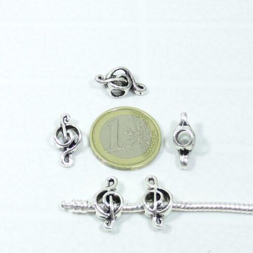 30 Abalorios Nota Musical 18x9mm T212X Pendentif Anhänger Fit European Bracele