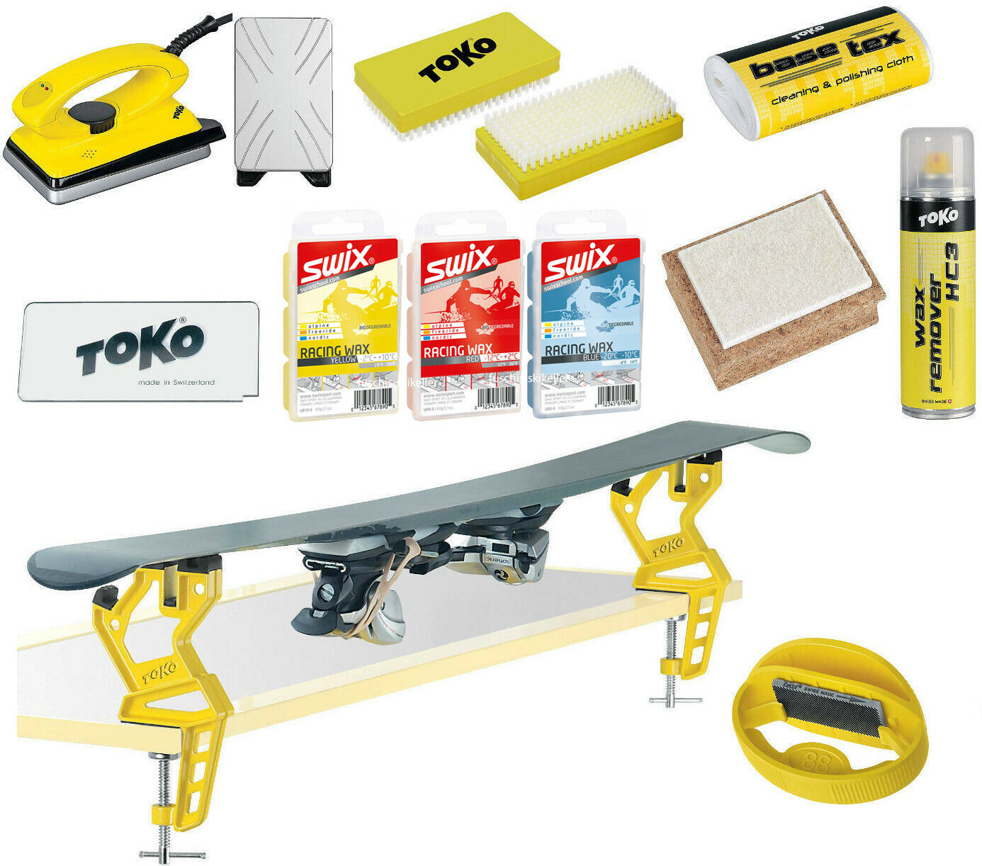 Toko Skiwax Set with Ski Clamp Ski Vise and Edge Tuner Sharpener 11-Teilig