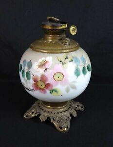 Antique Edward Miller E M & Co The Solar Floral Porcelain Oil Lamp